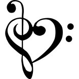 Notas Musicales de Sol y Fa juntas formando un corazon